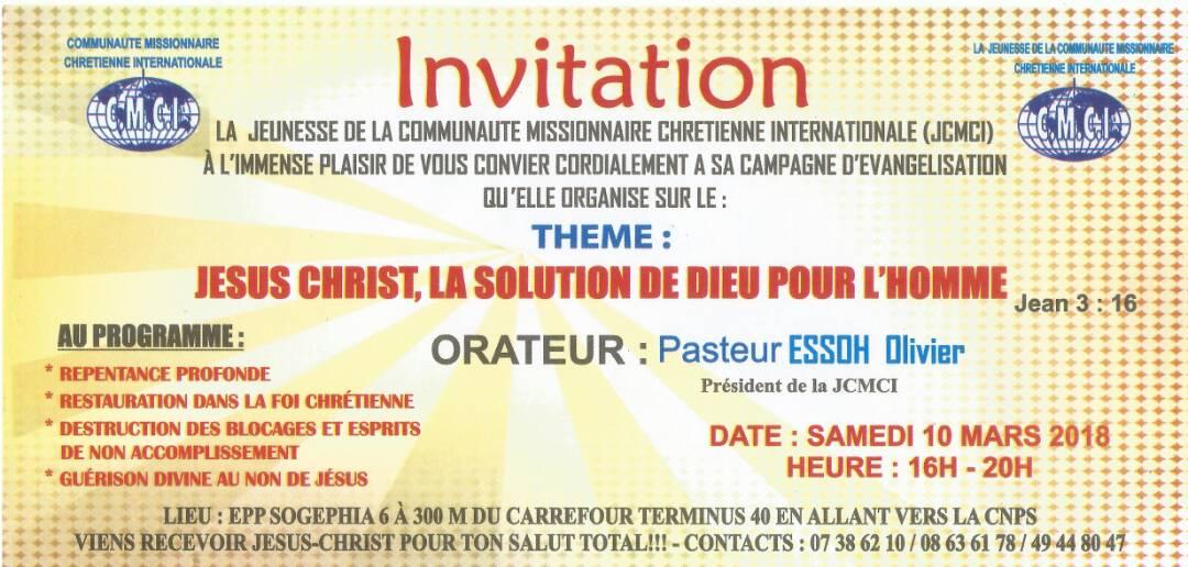 CAMPAGNE D'EVANGELISATION DE LA JEUNESSE MISSIONNAIRE CHRETIENNE